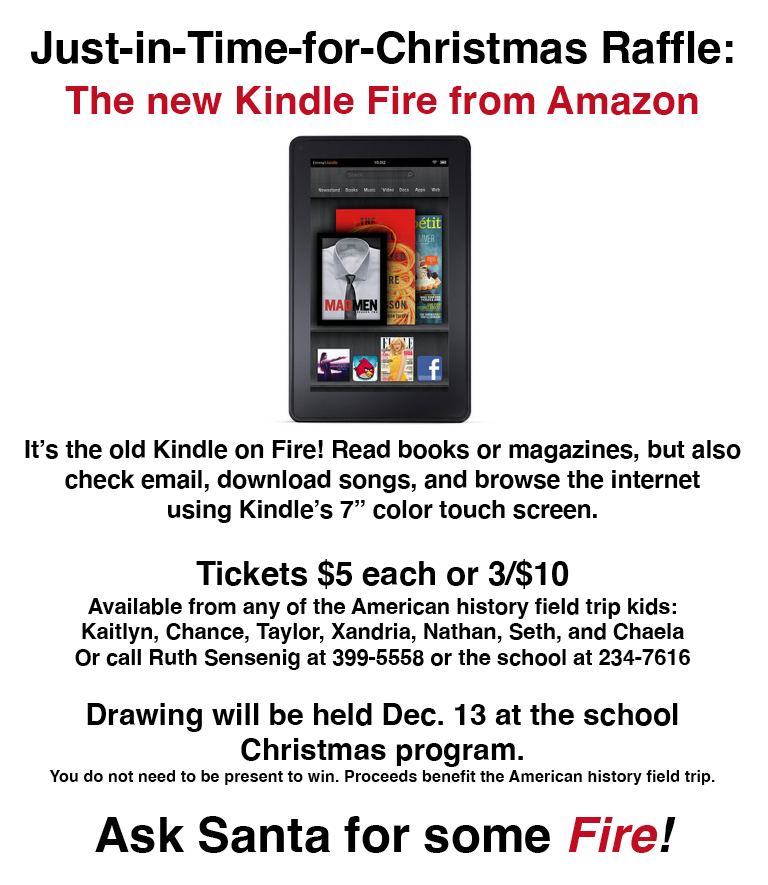 """Support our Students and Win a """"Kindle Fire""""!"""