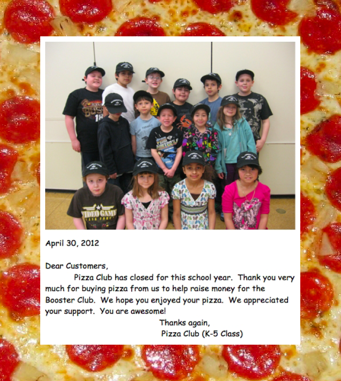 Thanks for Making our Pizza Club a Success!