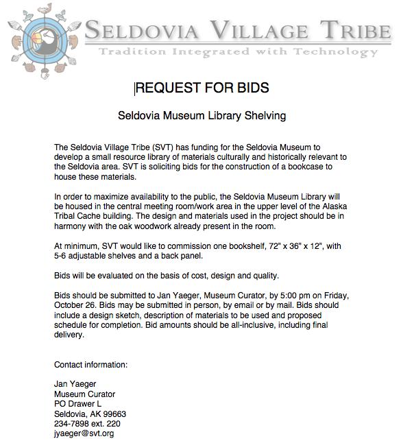 Request for Bids : Seldovia.com