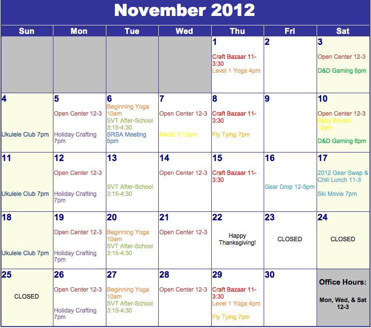 SOCC November Calendar