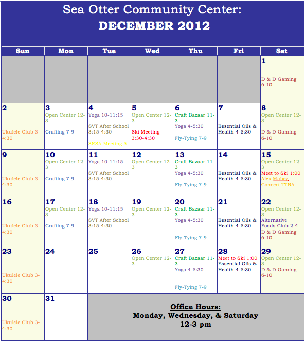 Sea Otter Community Center's December Calendar